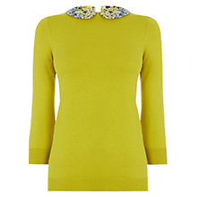 Buy Oasis Rose Collar Top, Mid Green Online at johnlewis.com