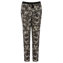 Buy Oasis Mono Printed Textured Trousers, Multi Black Online at johnlewis.com