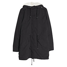 Buy Mango Faux Shearling Lined Parka, Black Online at johnlewis.com