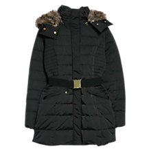 Buy Mango Faux Fur Hood Coat, Black Online at johnlewis.com