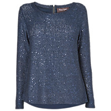 Buy Phase Eight Zip Back Sequin Knitted Jumper, Navy Online at johnlewis.com