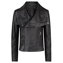 Buy Mango Biker Leather Jacket, Black Online at johnlewis.com