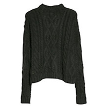 Buy Mango Cable Knit Wool Blend Jumper, Black Online at johnlewis.com