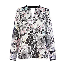 Buy Warehouse Oriental Flower Print Cut Out Top, Multi Online at johnlewis.com