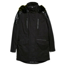Buy Mango Shoulder Panel Hooded Parka, Black Online at johnlewis.com