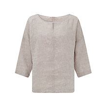 Buy John Lewis Capsule Collection Notch Neck Linen Top, Latte Online at johnlewis.com