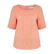 Buy John Lewis Capsule Collection Notch Neck Linen Tunic Top, Peach Online at johnlewis.com