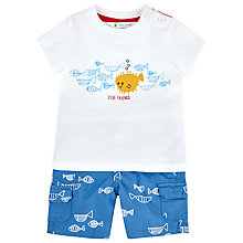 Buy John Lewis Fish Shorts & T-Shirt Set, White/Blue Online at johnlewis.com
