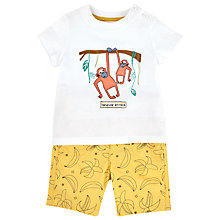 Buy John Lewis Hanging Monkey & Banana T-Shirt & Shorts, White/Yellow Online at johnlewis.com