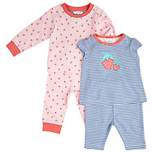 Buy John Lewis Strawberry Pyjamas, 2 Pack, Blue/Pink Online at johnlewis.com