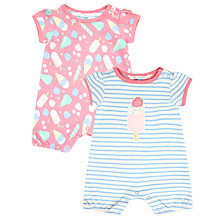 Buy John Lewis Ice Cream Rompersuit, Pack of 2, Pink/Blue Online at johnlewis.com