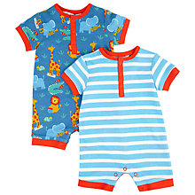 Buy John Lewis Zoo Animal & Stripe Rompersuit, Pack of 2, Blue Online at johnlewis.com