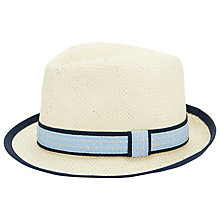 Buy John Lewis Straw Trilby, Natural/Blue Online at johnlewis.com