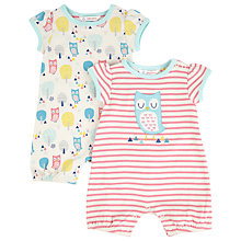 Buy John Lewis Owl Rompersuit, Pink/Cream Online at johnlewis.com