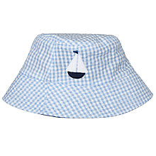 Buy John Lewis Baby's Embroidered Reversible Seersucker Sun Hat, Blue Online at johnlewis.com
