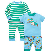 Buy John Lewis Baby's Monkey Print Pyjamas, Pack of 2, Blue Online at johnlewis.com