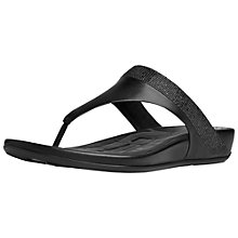 Buy FitFlop Banda Crystal Leather Toe Post Sandals, Black Online at johnlewis.com