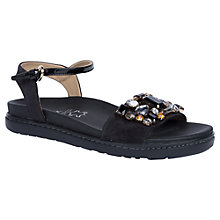 Buy Geox Tajah Leather Jewelled Sandals, Black Online at johnlewis.com
