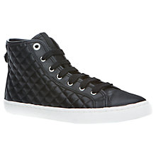 Buy Geox New Club Quilted Hi-Top Trainers, Black Online at johnlewis.com