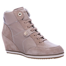 Buy Geox Illusion Leather Wedged High Top Trainers, Taupe Online at johnlewis.com