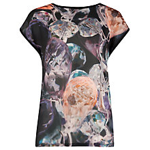 Buy Ted Baker Ayrina Glistening Gem Woven T-Shirt, Black Online at johnlewis.com