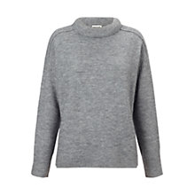 Buy Whistles Alyssa Padded Neck Jumper, Grey Online at johnlewis.com
