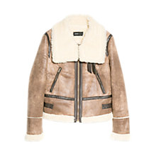Buy Mango Faux Shearling Jacket, Brown Online at johnlewis.com