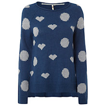Buy White Stuff Spot And Heart Jumper, Irish Blue Online at johnlewis.com