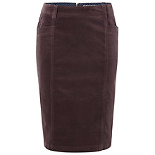 Buy White Stuff Polly Pencil Velvet Skirt, Dark Lavender Online at johnlewis.com