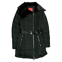 Buy Mango Faux Fur Appliqué Coat, Black Online at johnlewis.com