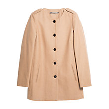 Buy Mango Buttoned Wool Blend Coat, Medium Brown Online at johnlewis.com