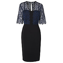 Buy L.K. Bennett Houston Lace Detail Dress, Navy Online at johnlewis.com