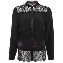 Buy Jaeger Lace Panelled Blouse, Black Online at johnlewis.com