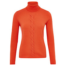 Buy Viyella Merino Wool Cable Roll Neck Jumper, Orange Online at johnlewis.com