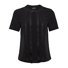 Buy Jaeger Silk Satin Pleat Front Top, Black Online at johnlewis.com