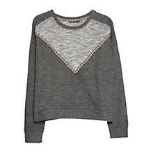 Buy Mango Ethnic Cropped Jumper, Dark Grey Online at johnlewis.com