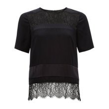 Buy Jaeger Lace Panel Top, Black Online at johnlewis.com