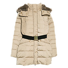Buy Mango Faux Fur Hooded Coat, Light Beige Online at johnlewis.com
