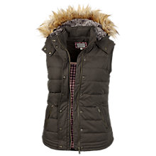Buy Fat Face Amy Leather Trim Gilet, Chocolate Online at johnlewis.com