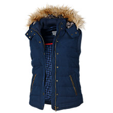 Buy Fat Face Amy Leather Trim Gilet, Navy Online at johnlewis.com