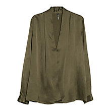 Buy Mango Satin Blouse, Dark Beige Online at johnlewis.com