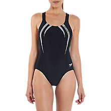 Buy Speedo Logo Medalist Endurance Swimsuit, Black Online at johnlewis.com