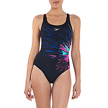 Buy Speedo Placement Powerback Endurance Swim Suit, Black Online at johnlewis.com