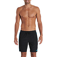 "Buy Speedo Logo Yoke Splice 18"" Watershort Swim Shorts, Black/Beautiful Blue Online at johnlewis.com"