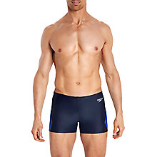Buy Speedo Placement Curve Panel Endurance Aquashort Swim Shorts, Navy/Beautiful Blue Online at johnlewis.com