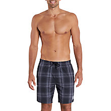 "Buy Speedo Yarn Dyed Checked 18"" Watershorts, Black/Oxid Grey Online at johnlewis.com"