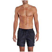 "Buy Speedo Print Leisure 16"" Watershort Swim Shorts, Black/Oxid Grey Online at johnlewis.com"