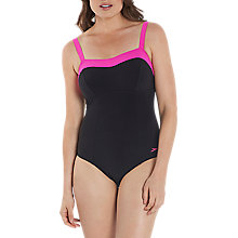 Buy Speedo Sculpture Puresun Swimsuit, Black/Pink Online at johnlewis.com