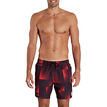"Buy Speedo Print Leisure 16"" Watershort Swim Shorts, Black/USA Red Online at johnlewis.com"