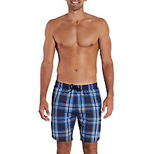 "Buy Speedo Yarn Dyed Checked 18"" Watershort Swim Shorts, Navy/Baja Blue Online at johnlewis.com"